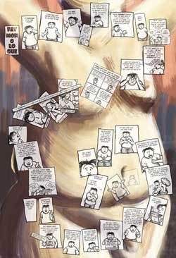 drawing of a body with the comic frames overlaid on top
