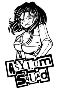black and white drawing of a grinning woman of the title of the comic