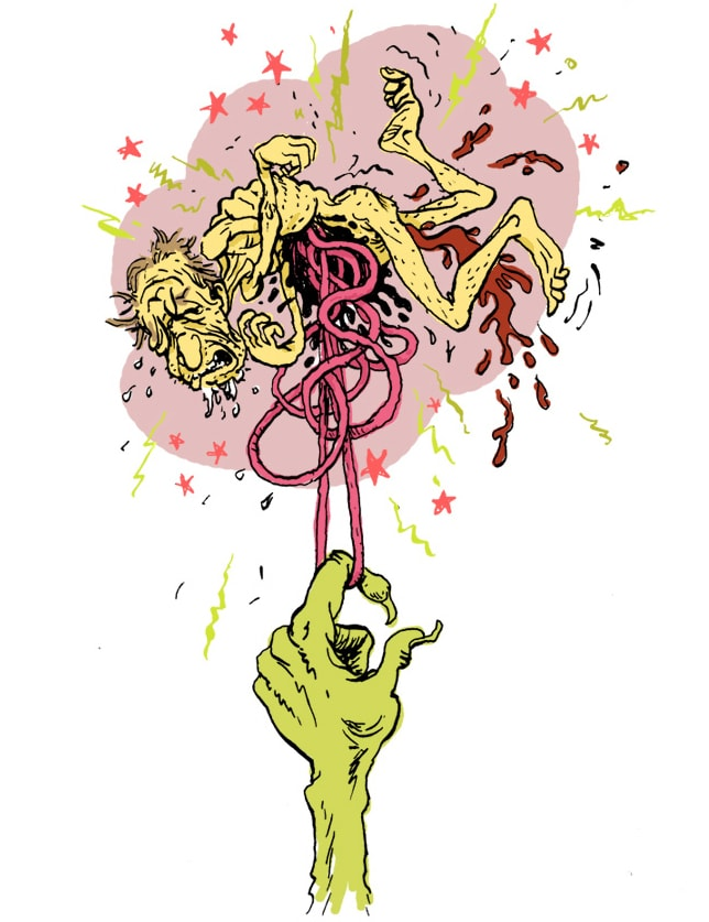 color drawing of a sick human floating above a large hand pulling at the human's intestines