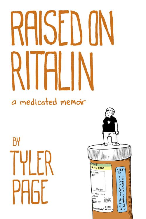Tit;e text and an image of a boy on top of a prescription medication bottle
