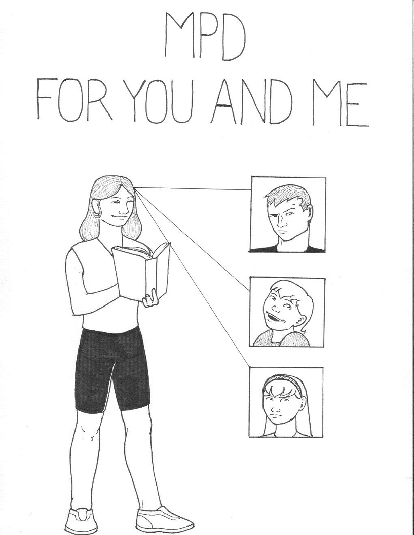 Drawn image of long-haired man holding a book and 3 different faces representing other personalities