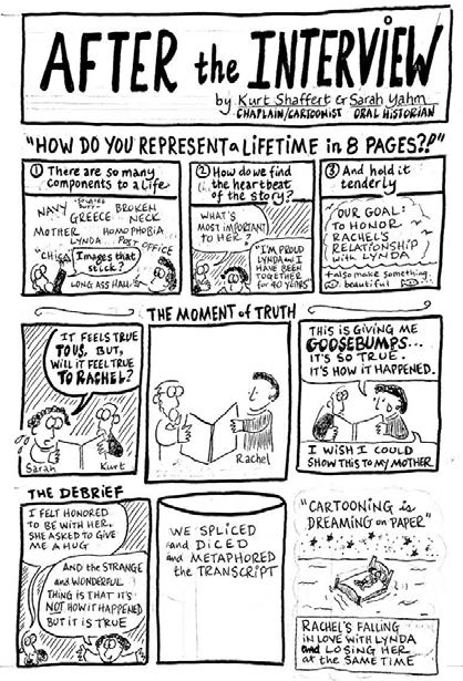 """A cartoon handout for the 2018 Graphic Medicine Conference regarding collaborating with an Oral Historian on writing a comic for a professionally produced anthology of comics illustrating the experiences of Veterans, """"A Whole Lifetime of Firsts""""."""